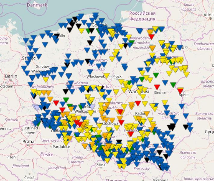 Sytuacja hydrologiczna na polskich rzekach (IMGW)