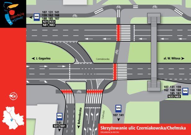 Skrzyżowanie ulic Czerniakowska i Chełmska ZDM