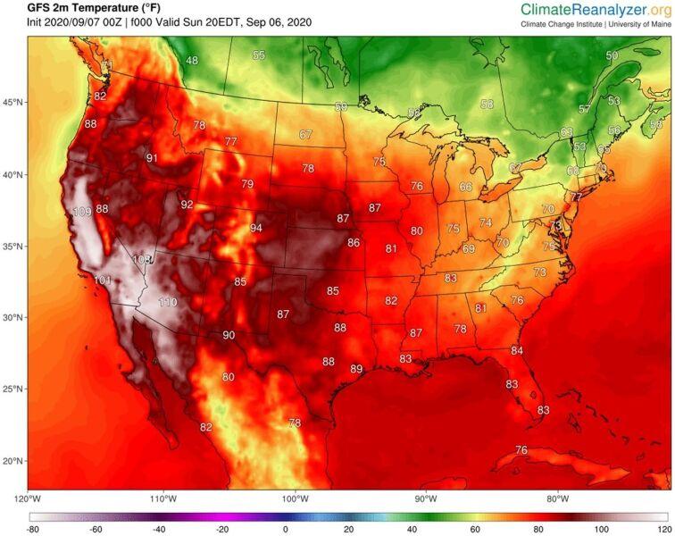 Temperatura w Ameryce w poniedziałek 7 września (podana w skali Fahrenheita) (climatereanalyzer.org)