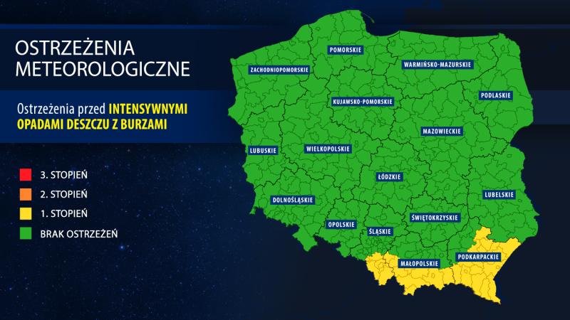 Ostrzeżenia meteorologiczne - godzina 21.30 (IMGW)