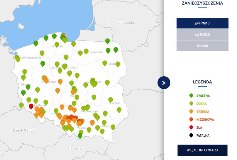 Stężenie pyłu PM10 w Polsce po godzinie 6 (TVN Meteo za GIOŚ)