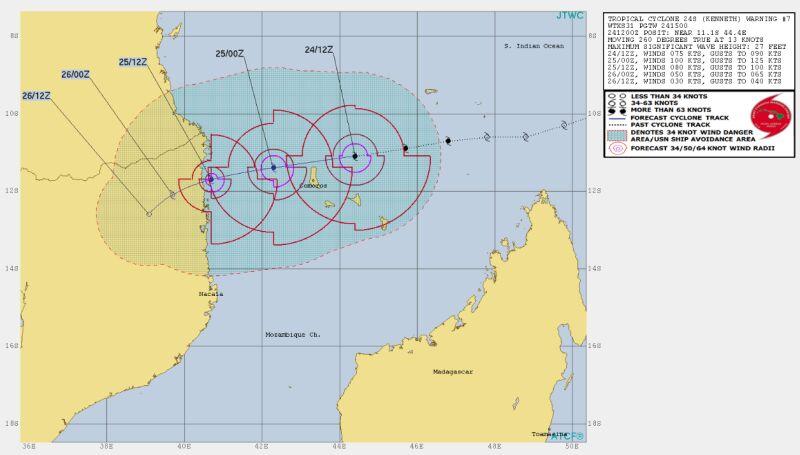 Prognozowana ścieżka przejścia cyklonu (Joint Typhoon Warning Center)