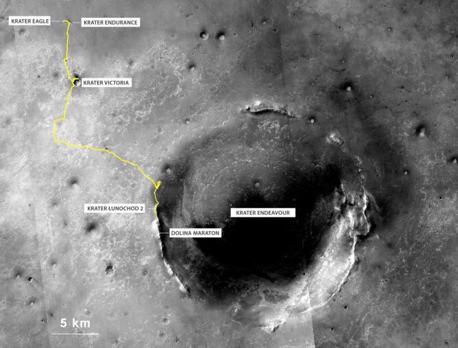 Do 27 lipca 2014 łazik Opportunity przejechał na Marsie 40,25 km - to największa odległość pokonana przez pojazd kołowy poza Ziemią
