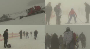 Turyści z Kasprowego Wierchu o śniegu