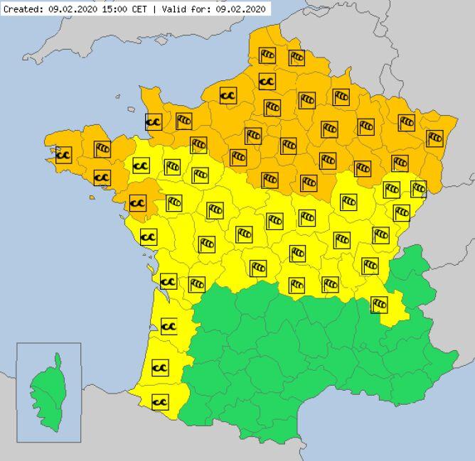 Ostrzeżenia meteorologiczne we Francji